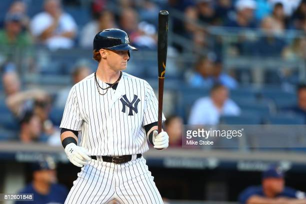 Clint Frazier of the New York Yankees in action against the Milwaukee Brewers at Yankee Stadium on July 7 2017 in the Bronx borough of New York City...