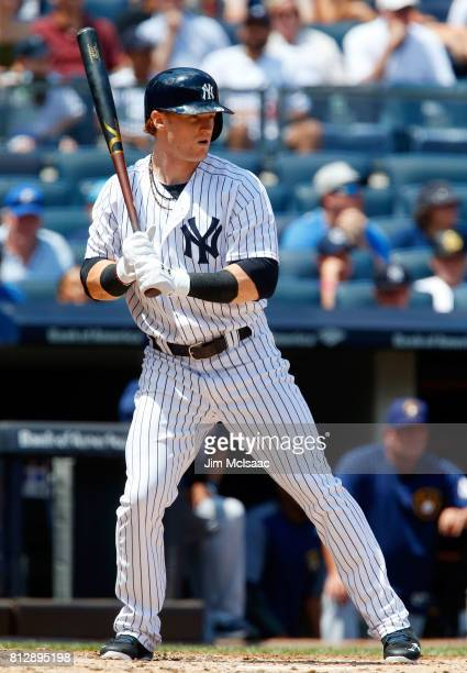 Clint Frazier of the New York Yankees in action against the Milwaukee Brewers at Yankee Stadium on July 9 2017 in the Bronx borough of New York City...