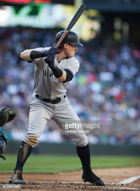 Clint Frazier of the New York Yankees is up to bat against the Seattle Mariners at Safeco Field on July 22 2017 in Seattle Washington The Seattle...