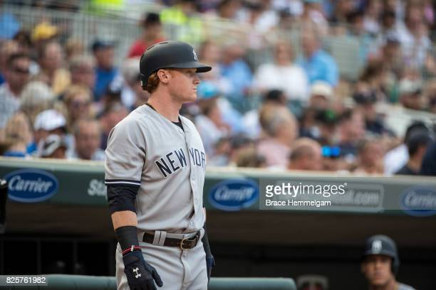 Clint Frazier of the New York Yankees looks on against the Minnesota Twins on July 17 2017 at Target Field in Minneapolis Minnesota The Twins...