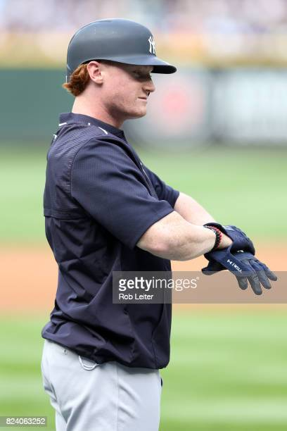 Clint Frazier of the New York Yankees looks on before the game against the Seattle Mariners at Safeco Field on July 21 2017 in Seattle Washington The...