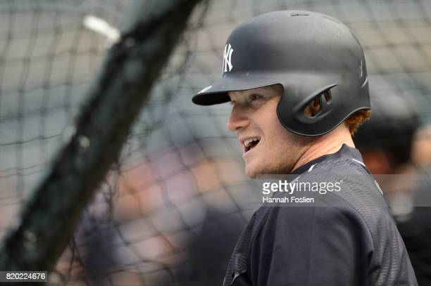 Clint Frazier of the New York Yankees looks on during batting practice before the game against the Minnesota Twins on July 18 2017 at Target Field in...