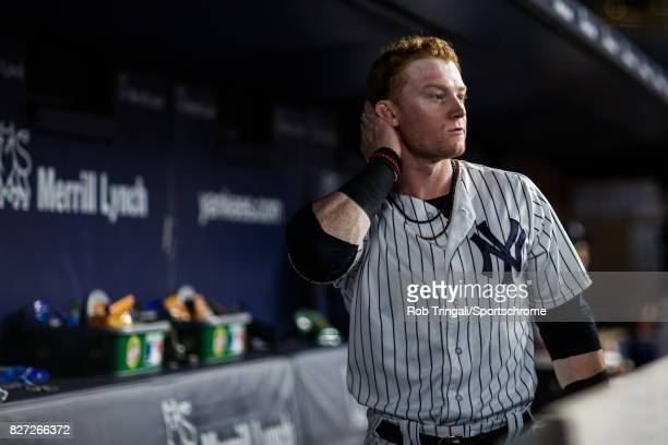 Clint Frazier of the New York Yankees looks on during the game against the Detroit Tigers at Yankee Stadium on July 31 2017 in the Bronx borough of...