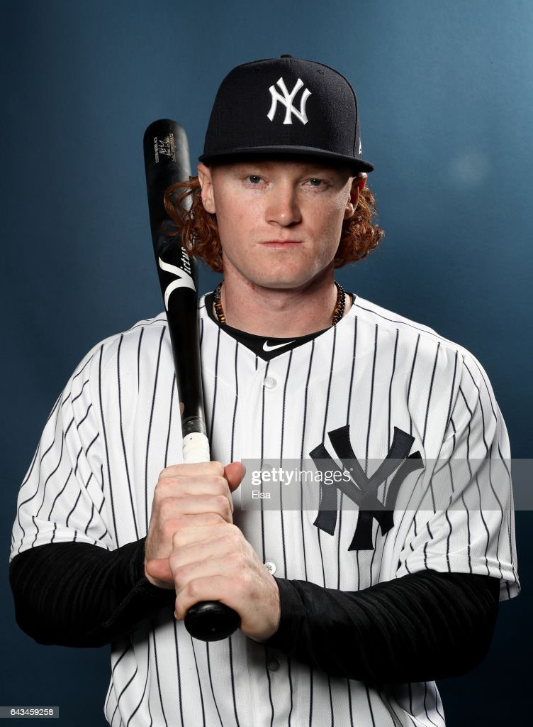 Clint Frazier #75 of the New York Yankees poses for a portrait during the New York Yankees photo day on February 21, 2017 at George M. Steinbrenner Field in Tampa, Florida.