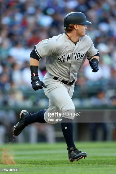 Clint Frazier of the New York Yankees runs during the game against the Seattle Mariners at Safeco Field on July 22 2017 in Seattle Washington The...