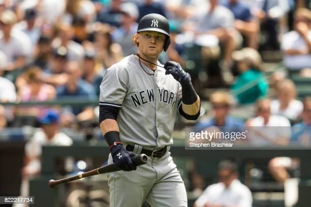 Clint Frazier of the New York Yankees walks off the field after an atbat during a game against the Seattle Mariners at Safeco Field on July 23 2017...