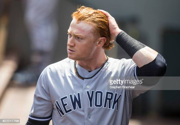 Clint Frazier of the New York Yankees walks through the dugout during a game against the Seattle Mariners at Safeco Field on July 23 2017 in Seattle...