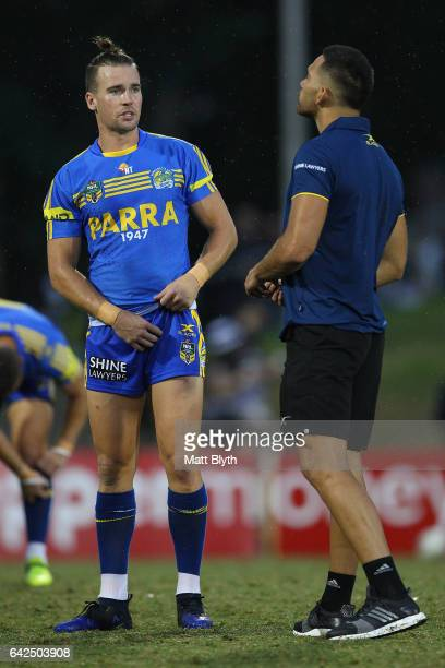 Clint Gutherson and Corey Norman of the Eels talk before the NRL Trial match between the Penrith Panthers and Parramatta Eels at Pepper Stadium on...