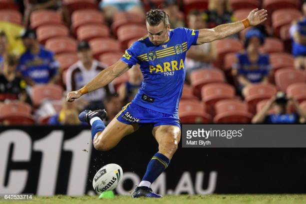 Clint Gutherson of the Eels kicks a goal during the NRL Trial match between the Penrith Panthers and Parramatta Eels at Pepper Stadium on February 18...