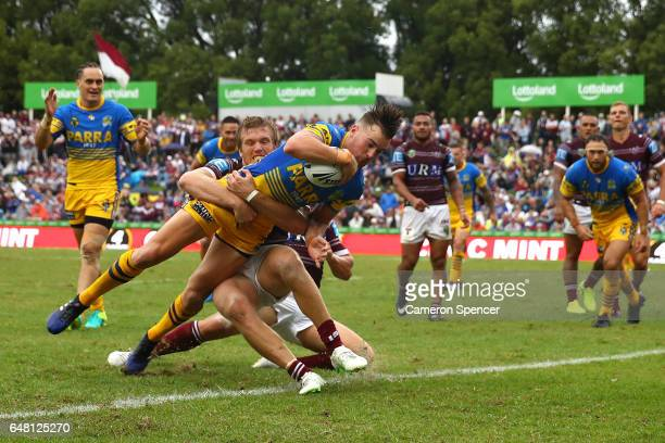 Clint Gutherson of the Eels scores a try during the round one NRL match between the Manly Sea Eagles and the Parramatta Eels at Lottoland on March 5...