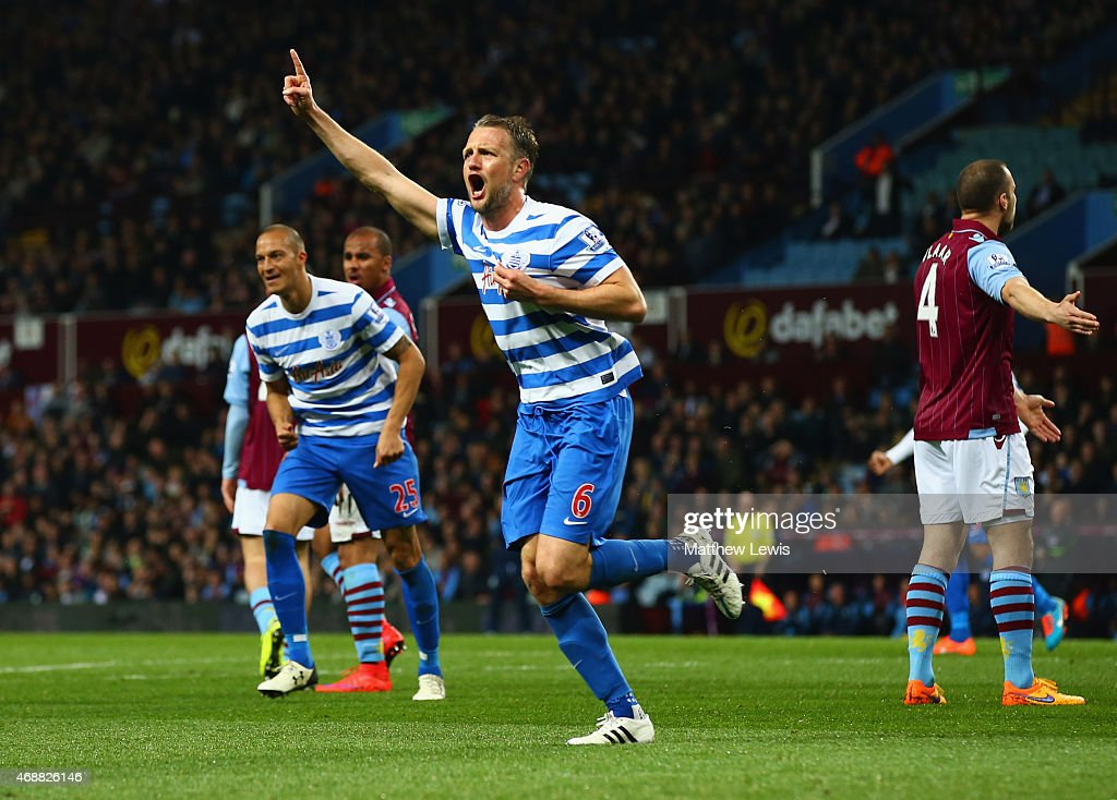Clint Hill of QPR (6) celebrates as he scores their second goal during the Barclays Premier League match between Aston Villa and Queens Park Rangers at Villa Park on April 7, 2015 in Birmingham, England.