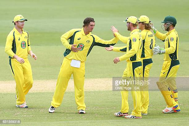 Clint Hinchliffe of the CA XI celebrates with team mates after running out Sharjeel Khan of Pakistan during the tour match between Pakistan and the...