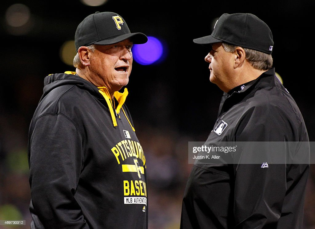 Clint Hurdle of the Pittsburgh Pirates argues after being ejected from the game in the eighth inning during interleague play against the Detroit...