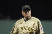 Clint Hurdle of the Pittsburgh Pirates looks on against the Chicago Cubs during the game on May 26 2012 at PNC Park in Pittsburgh Pennsylvania