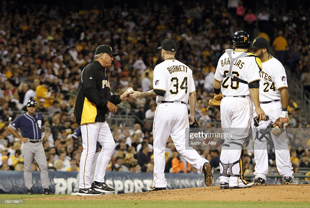 Clint Hurdle #13 of the Pittsburgh Pirates takes the ball from A.J. Burnett #34 during the game against the San Diego Padres on August 11, 2012 at PNC Park in Pittsburgh, Pennsylvania.