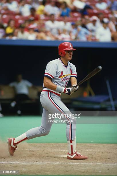 Clint Hurdle of the St Louis Cardinals bats against the Pittsburgh Pirates during a Major League Baseball game at Three Rivers Stadium in 1986 in...
