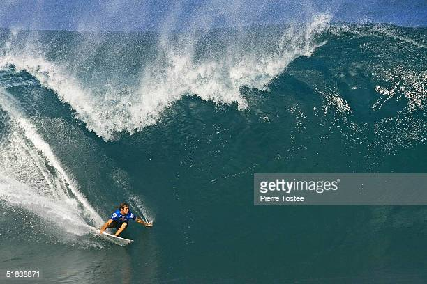Clint Kimmins of Australia competes in the Rip Curl Pipe Masters December 8 2004 at Pipeline of the North Shore of Oahu Hawaii