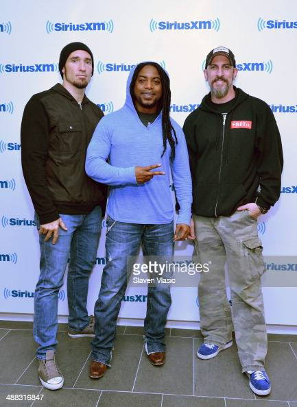Clint Lowery Lajon Witherspoon and John Connolly of Sevendust visit SiriusXM Studios on May 5 2014 in New York City