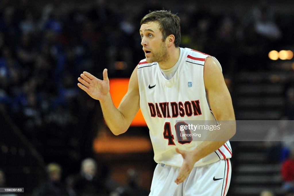 Clint Mann #40 of the Davidson Wildcats reacts during a game against the Duke Blue Devils at Time Warner Cable Arena on January 2, 2013 in Charlotte, North Carolina. Duke defeated Davidson 67-50.