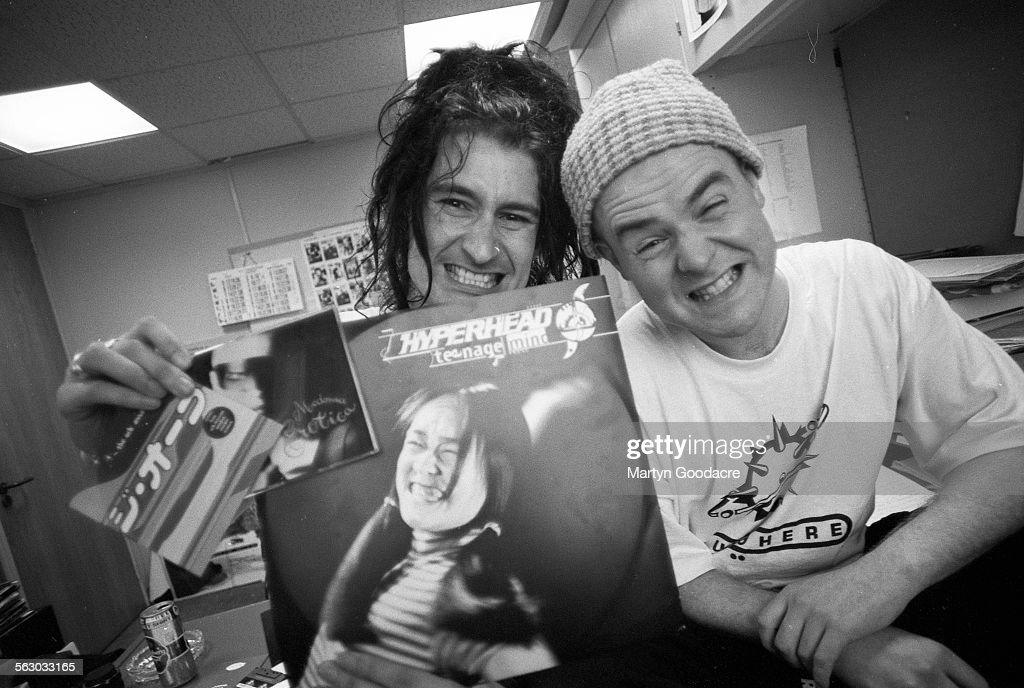 Clint Mansell and Graham Crabb of Pop Will Eat Itself guest review the week's singles at the NME offices London United Kingdom 1992