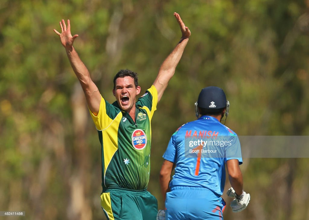 <a gi-track='captionPersonalityLinkClicked' href=/galleries/search?phrase=Clint+McKay&family=editorial&specificpeople=4083690 ng-click='$event.stopPropagation()'>Clint McKay</a> of Australia A appeals during the Quadrangular One Day Series match between Australia A and India A on July 20, 2014 at Marrara Oval in Darwin, Australia.