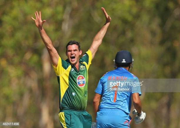 Clint McKay of Australia A appeals during the Quadrangular One Day Series match between Australia A and India A on July 20 2014 at Marrara Oval in...
