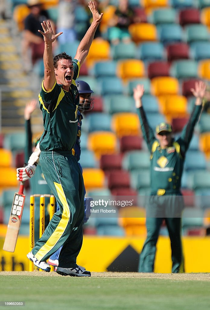Clint McKay of Australia appeals for a wicket during game three of the Commonwealth Bank one day international series between Australia and Sri Lanka at The Gabba on January 18, 2013 in Brisbane, Australia.
