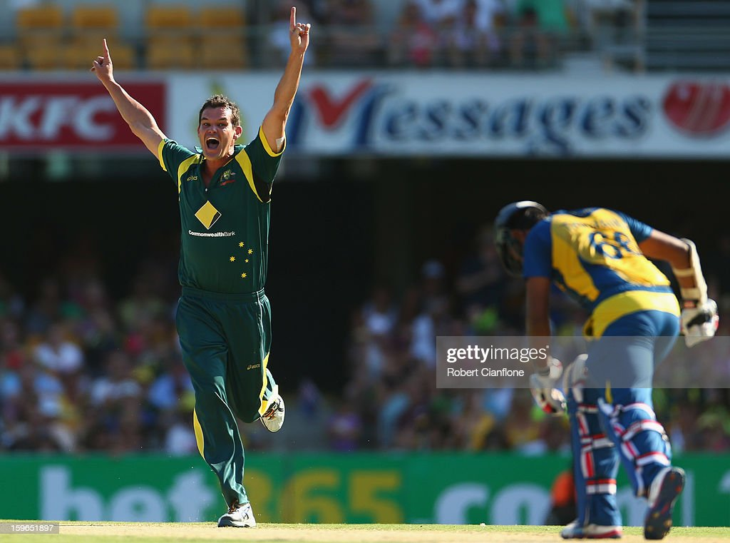 Clint McKay of Australia appeals unsuccessfully for the wicket of Lahiru Thirimanne of Sri Lanka during game three of the Commonwealth Bank One Day International Series between Australia and Sri Lanka at The Gabba on January 18, 2013 in Brisbane, Australia.