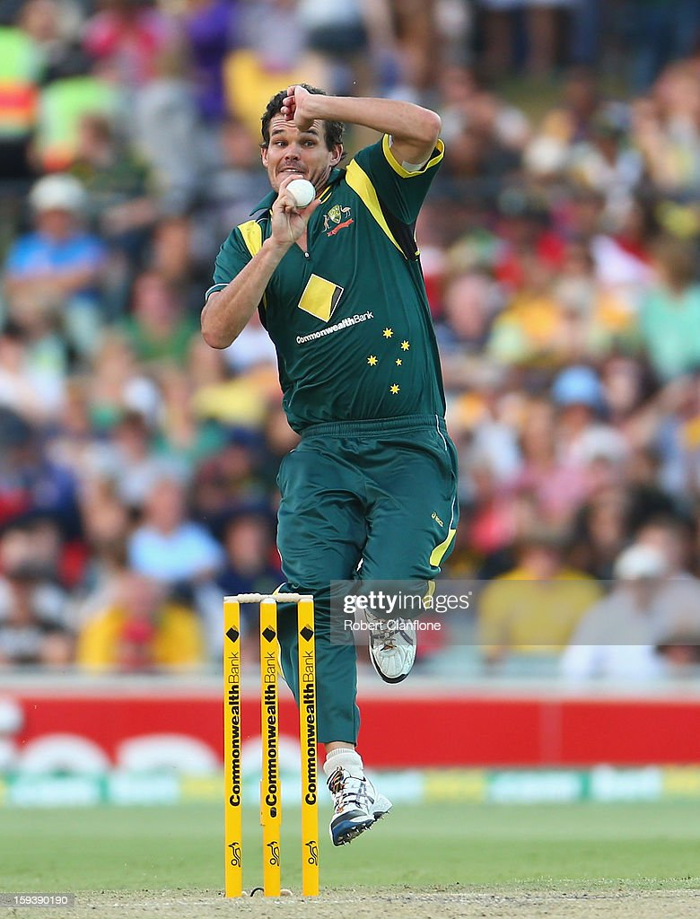 Clint McKay of Australia bowls during game two of the Commonwealth Bank One Day International series between Australia and Sri Lanka at Adelaide Oval on January 13, 2013 in Adelaide, Australia.