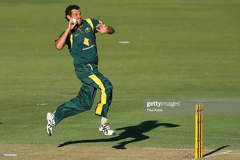 Clint McKay of Australia bowls during game two of the Commonwealth Bank One Day International Series between Australia and the West Indies at WACA on February 3, 2013 in Perth, Australia.