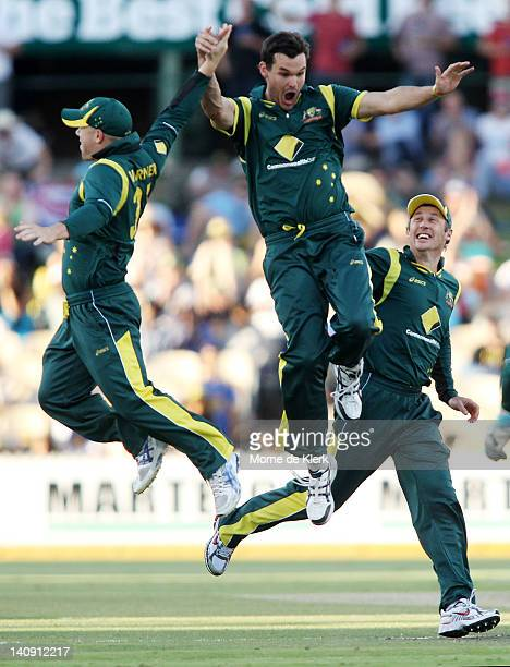 Clint McKay of Australia celebrates after getting the wicket of Mahela Jayawardene of Sri Lanka during the third One Day International Final series...
