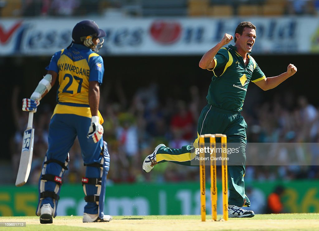 <a gi-track='captionPersonalityLinkClicked' href=/galleries/search?phrase=Clint+McKay&family=editorial&specificpeople=4083690 ng-click='$event.stopPropagation()'>Clint McKay</a> of Australia celebrates taking the wicket of <a gi-track='captionPersonalityLinkClicked' href=/galleries/search?phrase=Mahela+Jayawardene&family=editorial&specificpeople=213707 ng-click='$event.stopPropagation()'>Mahela Jayawardene</a> of Sri Lanka during game three of the Commonwealth Bank One Day International Series between Australia and Sri Lanka at The Gabba on January 18, 2013 in Brisbane, Australia.
