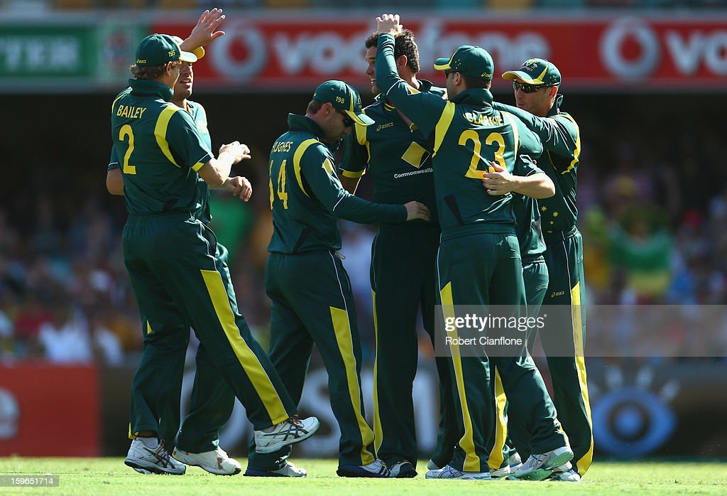 Clint McKay of Australia celebrates taking the wicket of Mahela Jayawardene of Sri Lanka during game three of the Commonwealth Bank One Day International Series between Australia and Sri Lanka at The Gabba on January 18, 2013 in Brisbane, Australia.