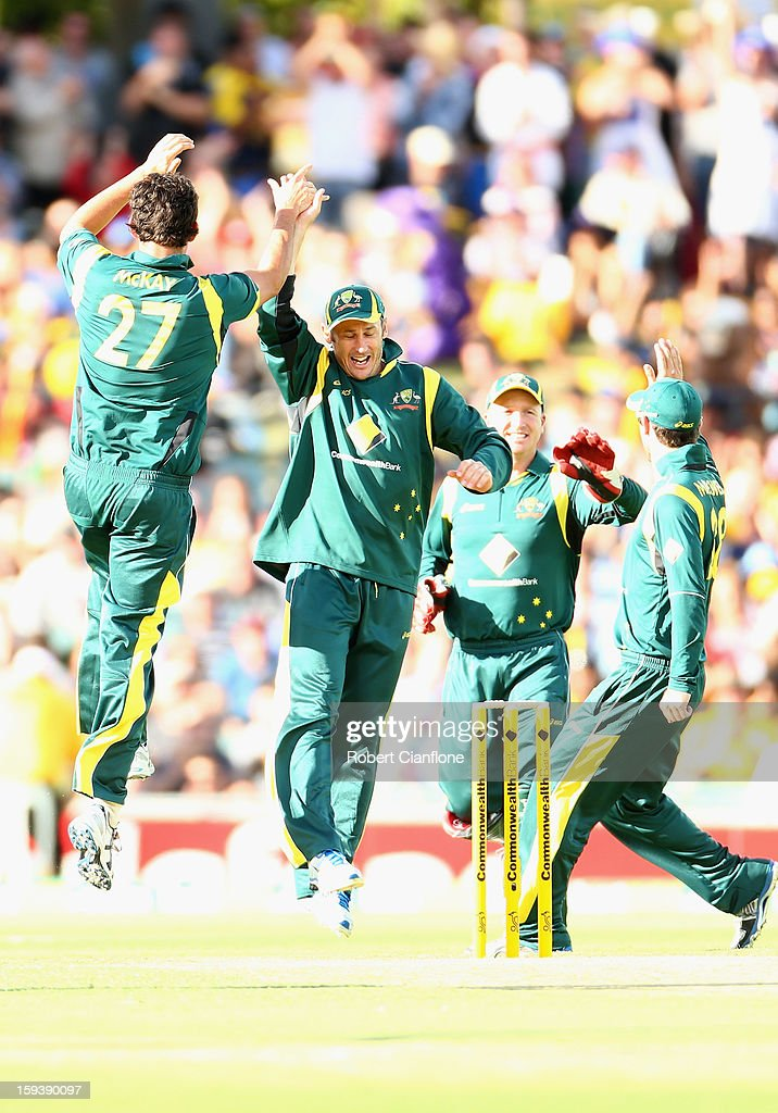 Clint McKay of Australia celebrates taking the wicket of Upul Tharanga of Sri Lanka during game two of the Commonwealth Bank One Day International series between Australia and Sri Lanka at Adelaide Oval on January 13, 2013 in Adelaide, Australia.