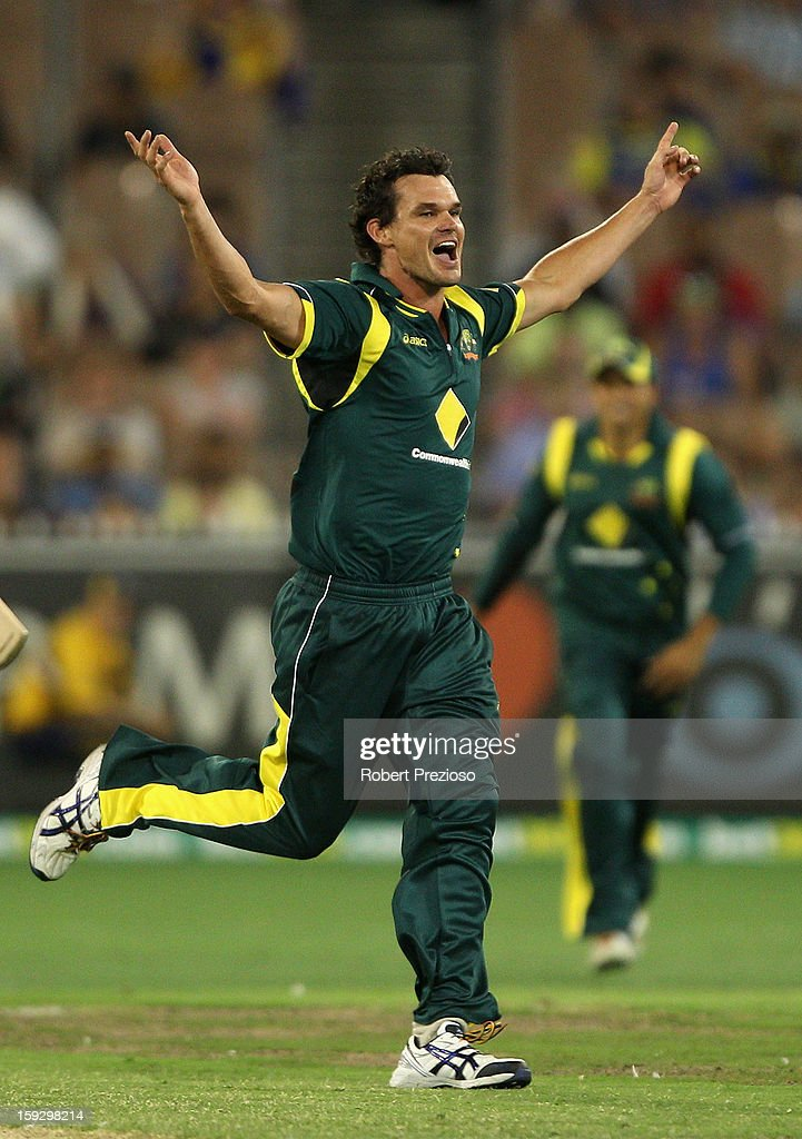 Clint McKay of Australia celebrates the wicket of Ajantha Mendis of Sri Lanka during game one of the Commonwealth Bank One Day International series between Australia and Sri Lanka at Melbourne Cricket Ground on January 11, 2013 in Melbourne, Australia.