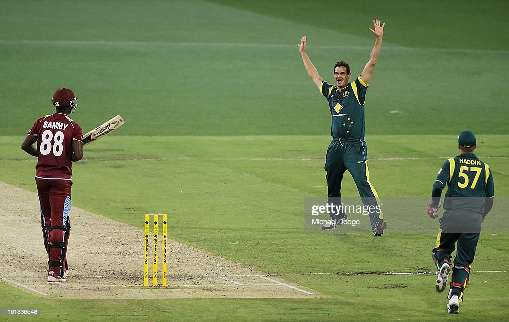 Clint McKay of Australia celebrates the wicket of Darren Sammy during game five of the Commonwealth Bank International Series between Australia and the West Indies at Melbourne Cricket Ground on February 10, 2013 in Melbourne, Australia.