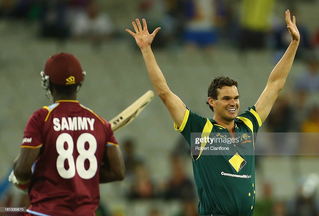 Clint McKay of Australia celebrates the wicket of Darren Sammy of the West Indies during game five of the Commonwealth Bank International Series between Australia and the West Indies at the Melbourne Cricket Ground on February 10, 2013 in Melbourne, Australia.