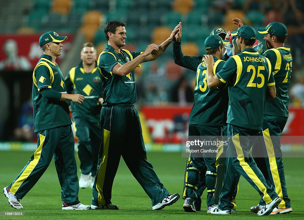 <a gi-track='captionPersonalityLinkClicked' href=/galleries/search?phrase=Clint+McKay&family=editorial&specificpeople=4083690 ng-click='$event.stopPropagation()'>Clint McKay</a> of Australia celebrates the wicket of Rangana Herath of Sri Lanka during game five of the Commonwealth Bank One Day International Series between Australia and Sri Lanka at Blundstone Arena on January 23, 2013 in Hobart, Australia.