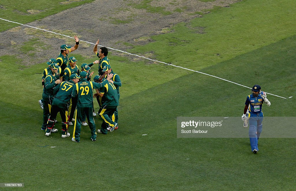 Clint McKay of Australia celebrates with his team mates after dismissing Mahela Jayawardene of Sri Lanka during game one of the Commonwealth Bank One Day International series between Australia and Sri Lanka at Melbourne Cricket Ground on January 11, 2013 in Melbourne, Australia.