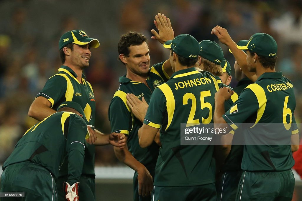 Clint McKay of Australia is congratulated by team mates after getting a wicket during game five of the Commonwealth Bank International Series between Australia and the West Indies at Melbourne Cricket Ground on February 10, 2013 in Melbourne, Australia.