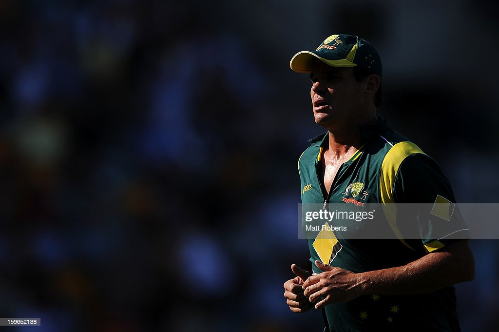 Clint McKay of Australia looks on during game three of the Commonwealth Bank one day international series between Australia and Sri Lanka at The Gabba on January 18, 2013 in Brisbane, Australia.