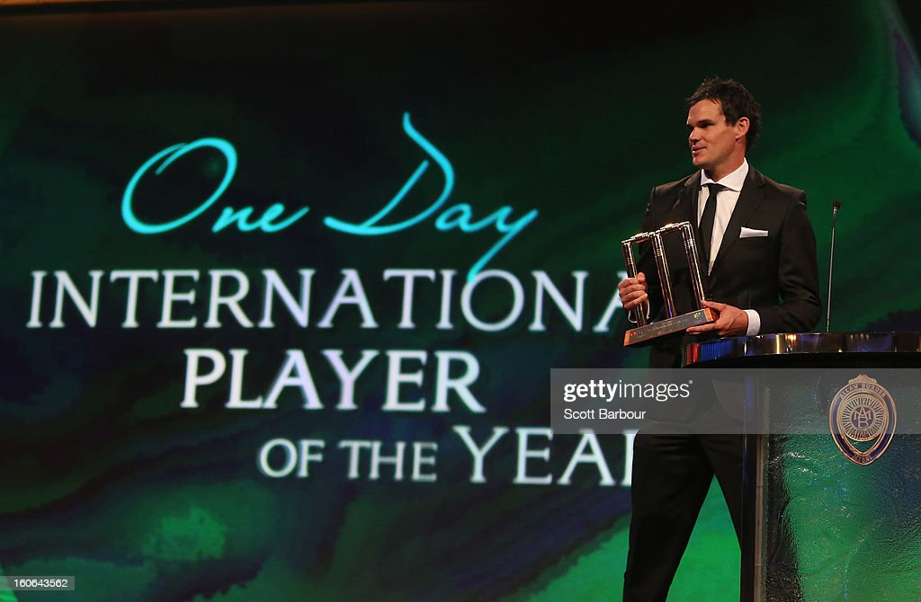 Clint McKay of Australia speaks after being named the One Day International Player Of The Year during the 2013 Allan Border Medal awards ceremony at Crown Palladium on February 4, 2013 in Melbourne, Australia.