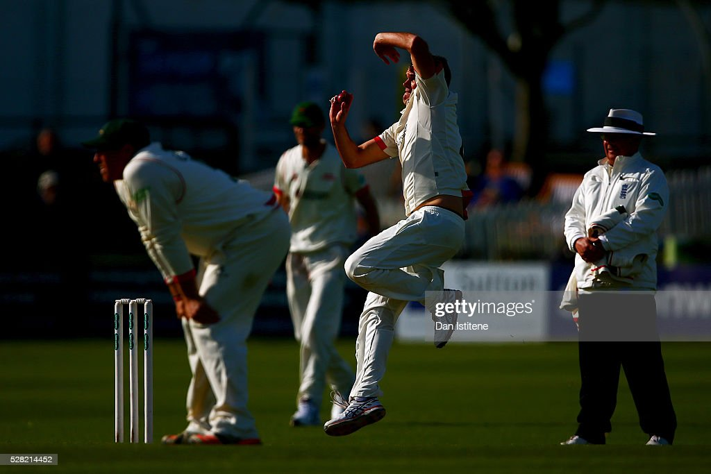 <a gi-track='captionPersonalityLinkClicked' href=/galleries/search?phrase=Clint+McKay&family=editorial&specificpeople=4083690 ng-click='$event.stopPropagation()'>Clint McKay</a> of Leicestershire bowls during the Specsavers County Championship Division Two match between Sussex and Leicestershire at The 1st Central County Ground on May 4, 2016 in Hove, England.