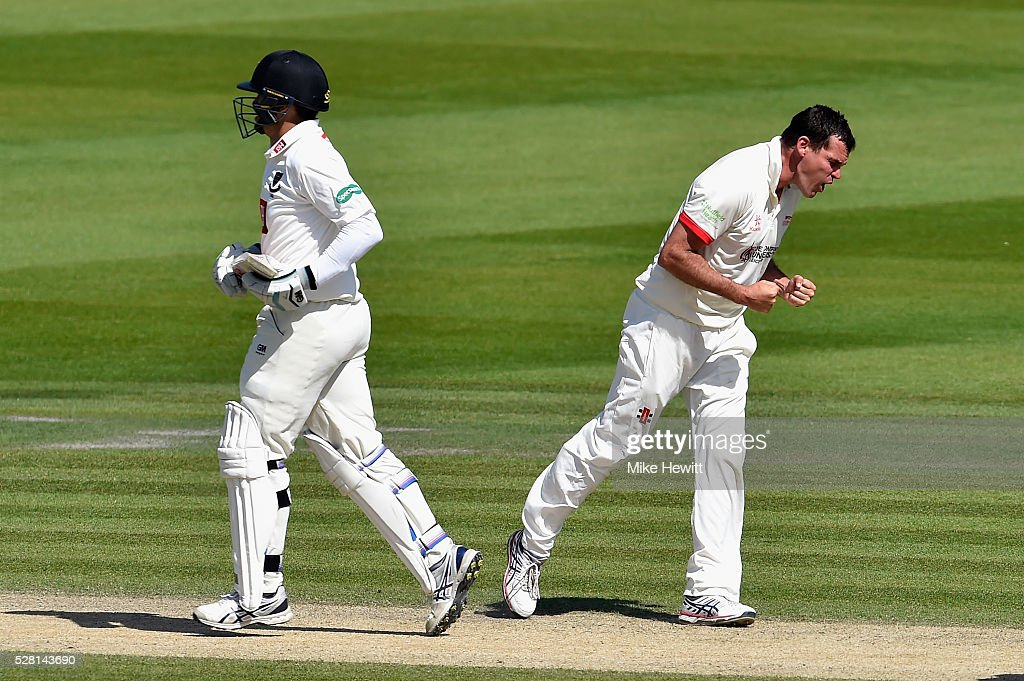 <a gi-track='captionPersonalityLinkClicked' href=/galleries/search?phrase=Clint+McKay&family=editorial&specificpeople=4083690 ng-click='$event.stopPropagation()'>Clint McKay</a> of Leicestershire celebrates after trapping <a gi-track='captionPersonalityLinkClicked' href=/galleries/search?phrase=Ross+Taylor&family=editorial&specificpeople=845922 ng-click='$event.stopPropagation()'>Ross Taylor</a> of Sussex LBW on the fourth day of the Specsavers County Championship Division Two match between Sussex and Leicestershire on May 04, 2016 in Hove, England.