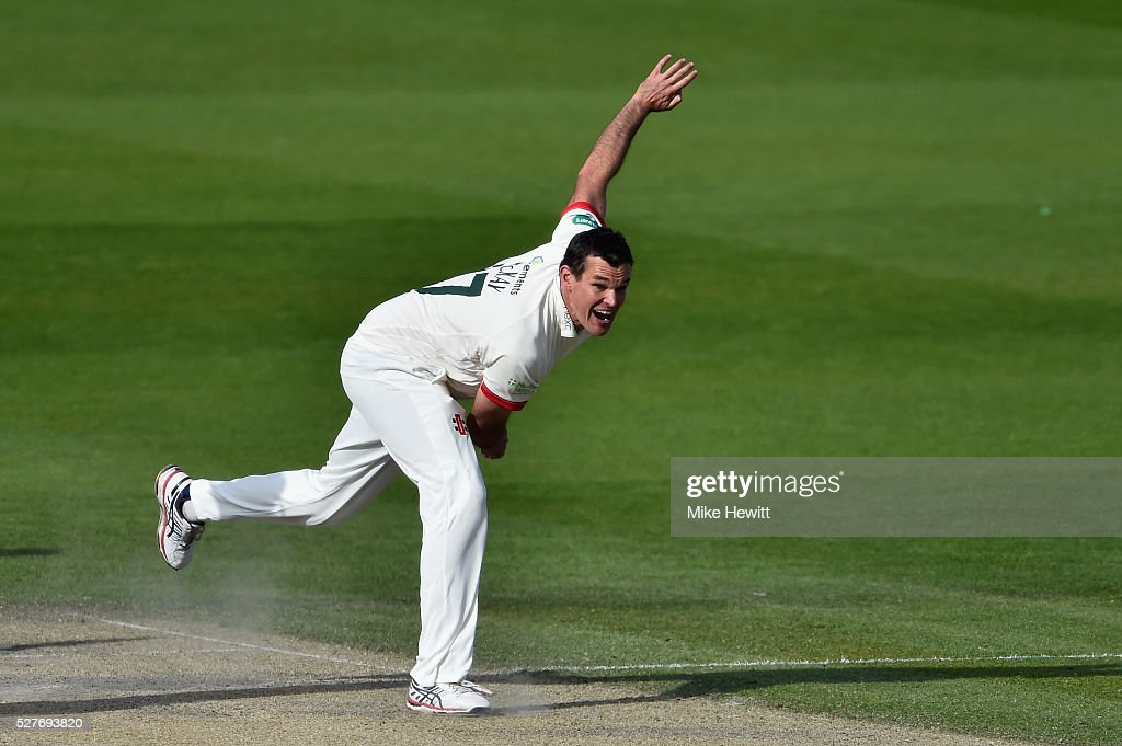Clint McKay of Leicestershire in action during the Specsavers County Championship Division Two match between Sussex and Leicestershire on May 03, 2016 in Hove, England.