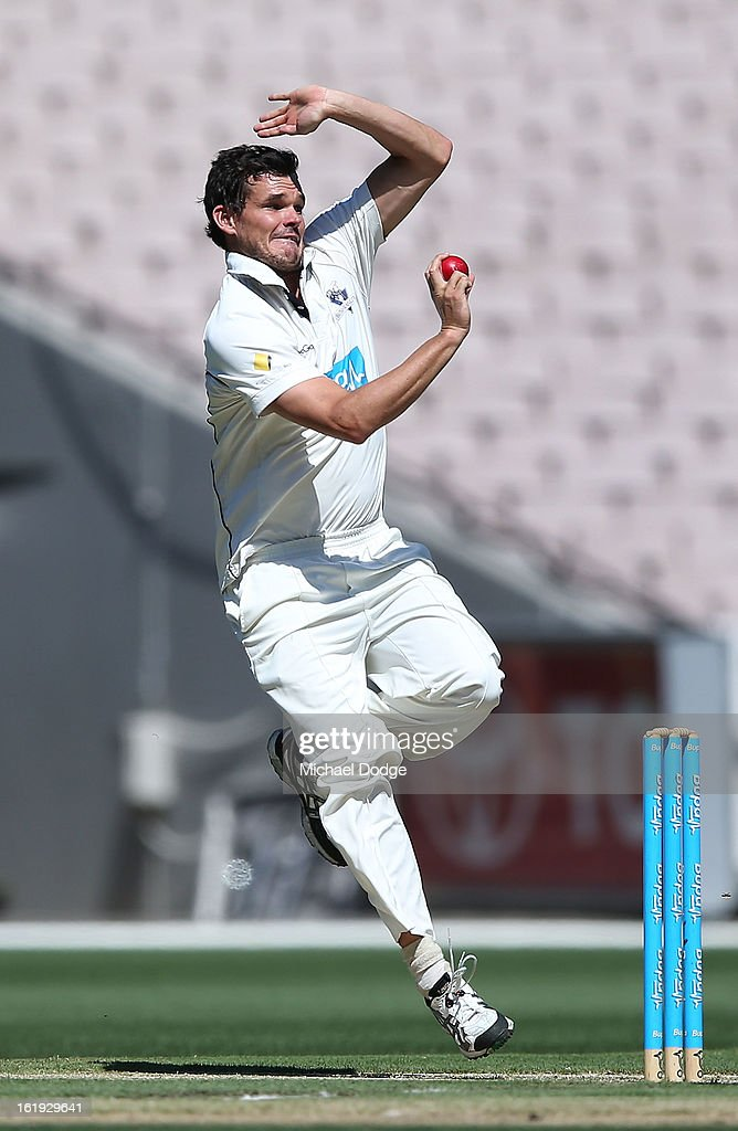 Clint McKay of the Bushrangers bowls during day one of the Sheffield Shield match between the Victorian Bushrangers and the Queensland Bulls at Melbourne Cricket Ground on February 18, 2013 in Melbourne, Australia.