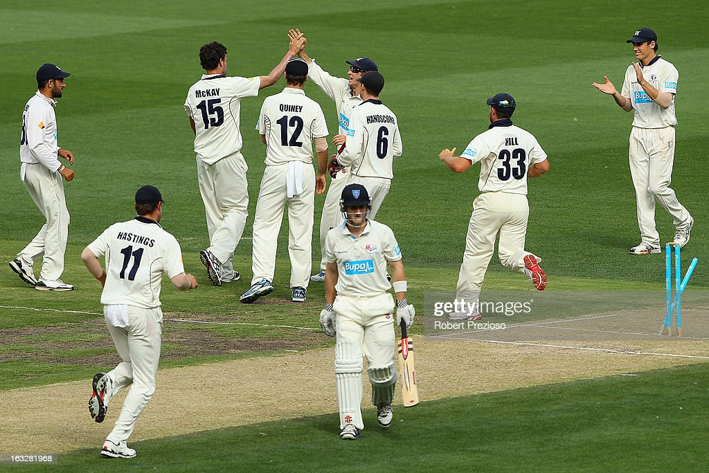 <a gi-track='captionPersonalityLinkClicked' href=/galleries/search?phrase=Clint+McKay&family=editorial&specificpeople=4083690 ng-click='$event.stopPropagation()'>Clint McKay</a> of the Bushrangers celebrates the wicket of Peter Nevill of the Blues during day one of the Sheffield Shield match between the Victorian Bushrangers and the New South Wales Blues at Melbourne Cricket Ground on March 7, 2013 in Melbourne, Australia.