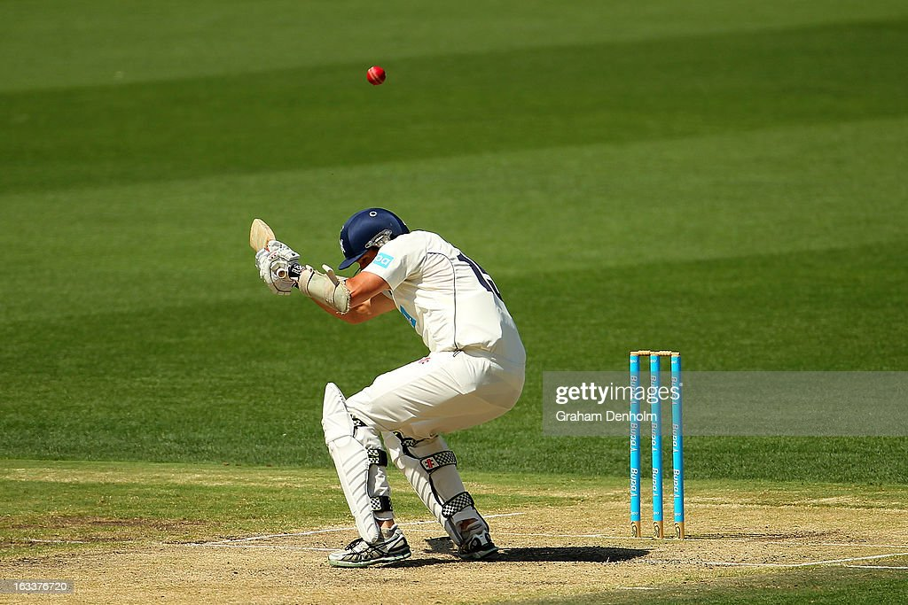Clint McKay of the Bushrangers ducks a bouncer during day three of the Sheffield Shield match between the Victorian Bushrangers and the New South Wales Blues at Melbourne Cricket Ground on March 9, 2013 in Melbourne, Australia.