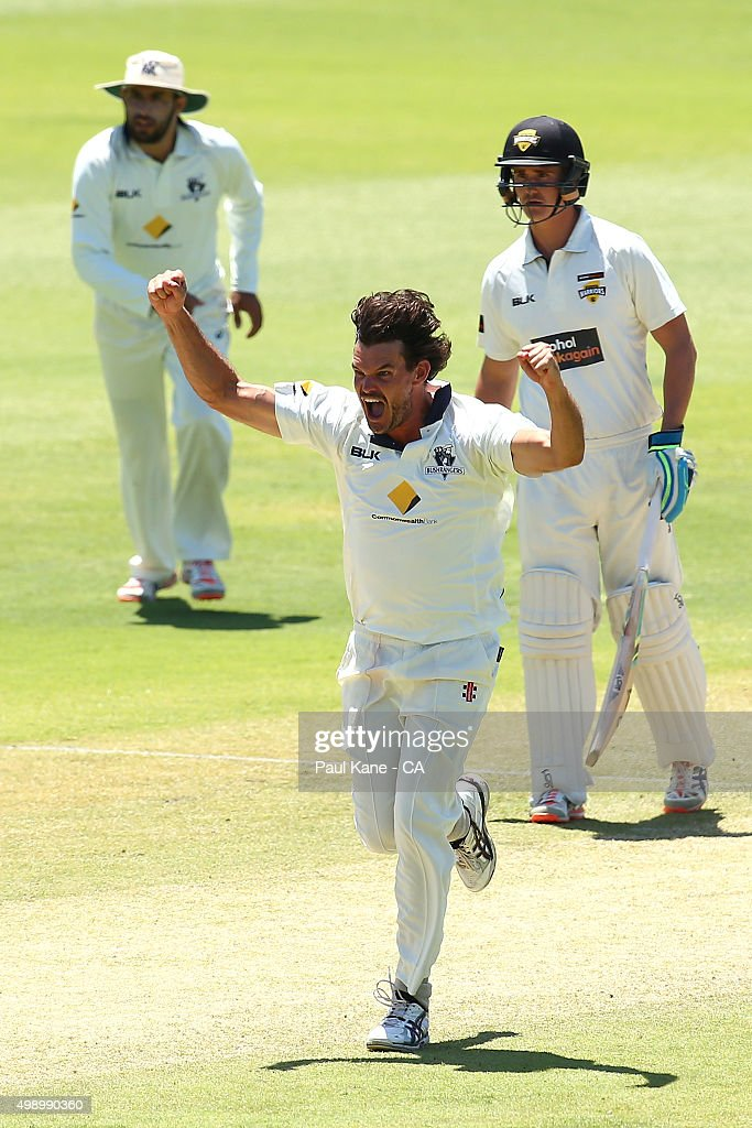 <a gi-track='captionPersonalityLinkClicked' href=/galleries/search?phrase=Clint+McKay&family=editorial&specificpeople=4083690 ng-click='$event.stopPropagation()'>Clint McKay</a> of Victoria celebrates the dismissal of Michael Klinger of Western Australia during day two of the Sheffield Shield match between Western Australia and Victoria at WACA on November 28, 2015 in Perth, Australia.