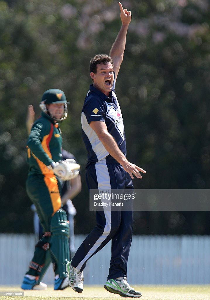 <a gi-track='captionPersonalityLinkClicked' href=/galleries/search?phrase=Clint+McKay&family=editorial&specificpeople=4083690 ng-click='$event.stopPropagation()'>Clint McKay</a> of Victoria claims the wicket of Ben Dunk of Tasmania during the Matador BBQs One Day Cup match between Tasmania and Victoria at Allan Border Field on October 8, 2014 in Brisbane, Australia.